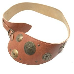Accessories - Tan Boho Belt with hammered metal circles.